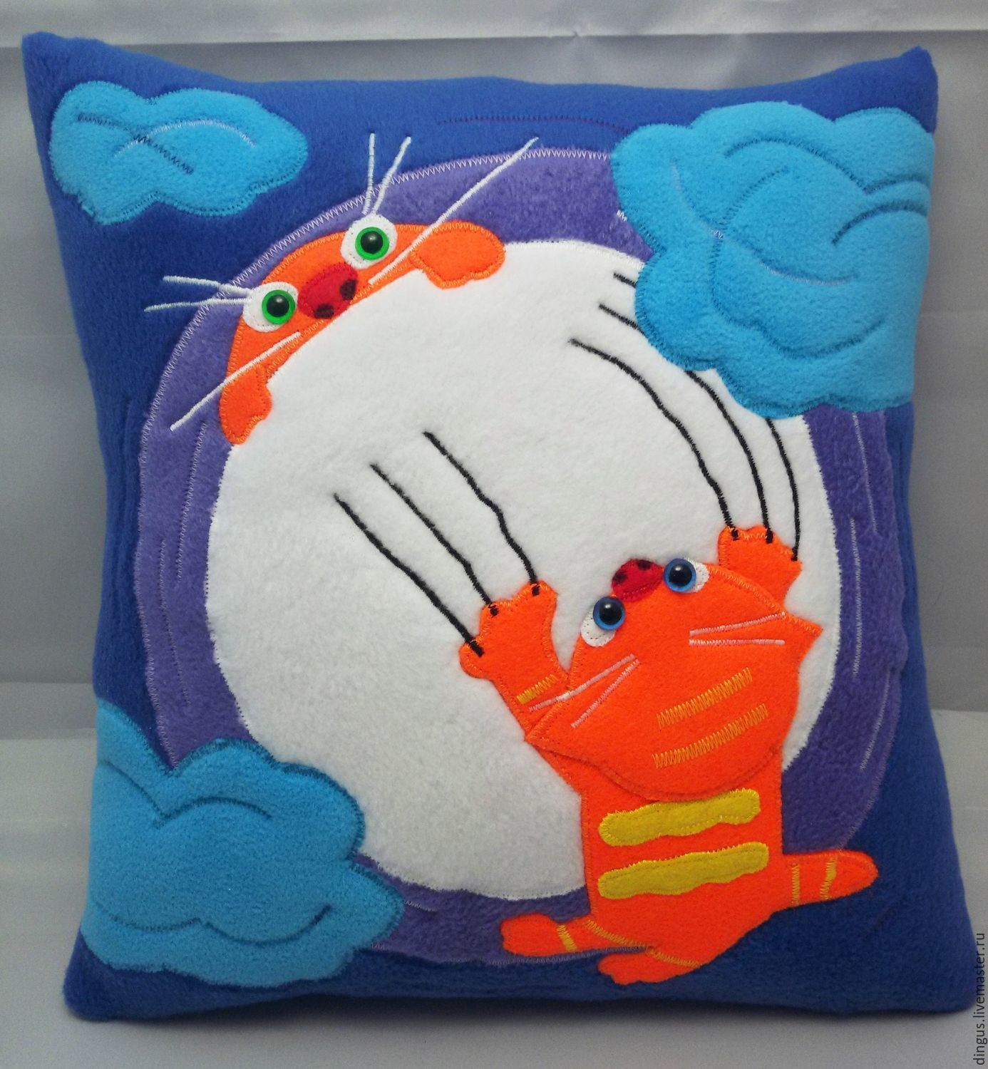 Pillow decorative red cat applique felt, cat on the moon, Pillow, Moscow,  Фото №1