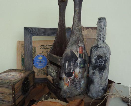 """Корзины, коробы ручной работы. Ярмарка Мастеров - ручная работа. Купить Ящик для вина, винный короб """"Старый погреб"""". Handmade."""