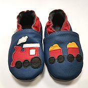 Одежда детская handmade. Livemaster - original item Locomotive Baby Shoes, Blue Baby Shoes, Train Baby Slippers. Handmade.