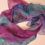 Shawls handmade. Livemaster - original item Batik scarf Marble. Natural silk. Painting. Handmade.