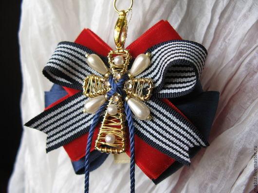 """Броши ручной работы. Ярмарка Мастеров - ручная работа. Купить Брошь """"Золотой крест"""". Handmade. Разноцветный, золотой цвет, красный"""