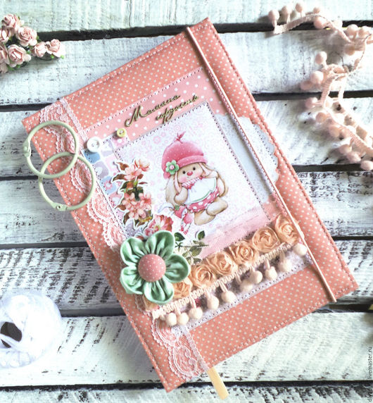 """Подарки для новорожденных, ручной работы. Ярмарка Мастеров - ручная работа. Купить блокнот """"мамины заметки"""" бебибук. Handmade. Кремовый"""