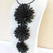 Украшения handmade. Livemaster - original item necklace with chrysanthemum starry night. the colors of the skin. Handmade.