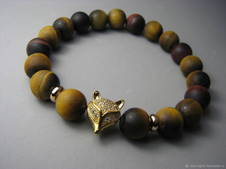 Bracelet with tiger eye and bullish 'Fox', Bead bracelet, Moscow,  Фото №1