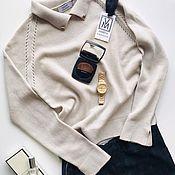 Jumpers handmade. Livemaster - original item Beige cashmere jumper with stone trim. Handmade.