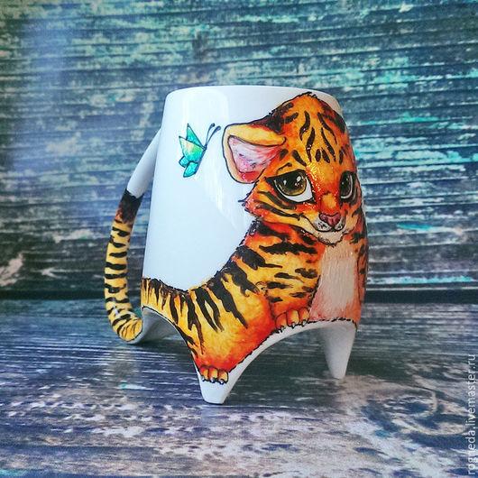 """Кружки и чашки ручной работы. Ярмарка Мастеров - ручная работа. Купить """"Тигренок"""" чашка с ножками (0706). Handmade. Комбинированный, котенок"""