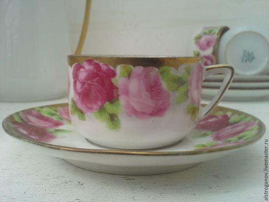 """Винтажная посуда. Ярмарка Мастеров - ручная работа. Купить До 1900 года.СИЛЕЗИЯ.3 чай/кофе/пары """"Розовый сад"""". Handmade."""