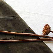 Одежда ручной работы. Ярмарка Мастеров - ручная работа Замшевая  юбка  цвета  хаки. Handmade.