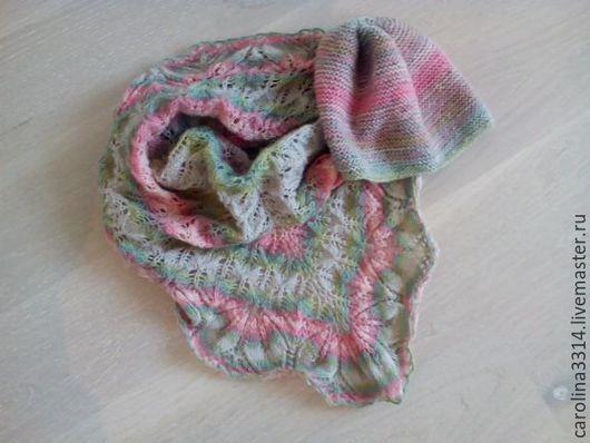 Шапки ручной работы. Ярмарка Мастеров - ручная работа. Купить Комплект зимний - шапка и шаль. Handmade. Разноцветный, шаль спицами