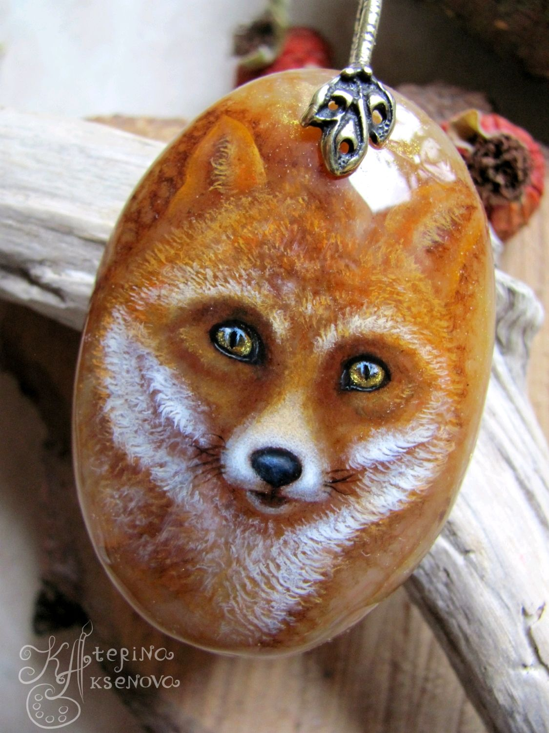 Pendant with painting on stone ' Chanterelle . The gaze of the ancestors. », Pendants, Moscow,  Фото №1