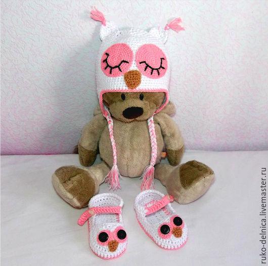 """Для новорожденных, ручной работы. Ярмарка Мастеров - ручная работа. Купить шапочка и пинетки """"Совушка"""" (шапка розовый сова шапочка). Handmade."""