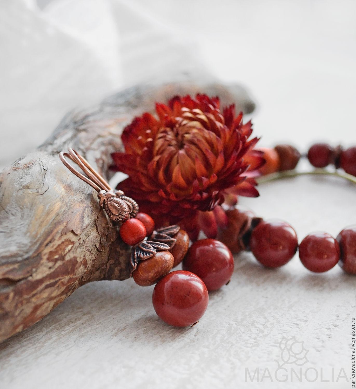 Earrings with red Jasper 'Velvet autumn', Earrings, Omsk,  Фото №1