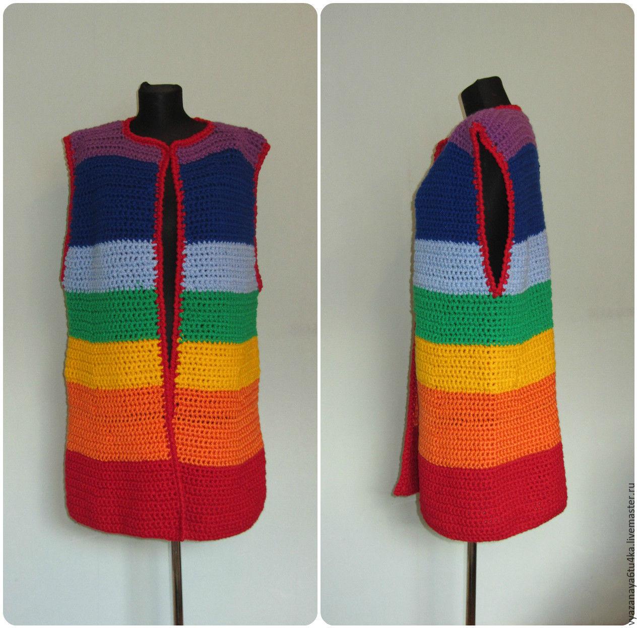 Coat sleeveless ' rainbow ', Coats, Moscow,  Фото №1