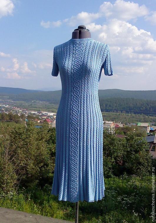 """Платья ручной работы. Ярмарка Мастеров - ручная работа. Купить """"Небеса"""" шёлковое платье. Handmade. Голубой, платье, повседневное"""