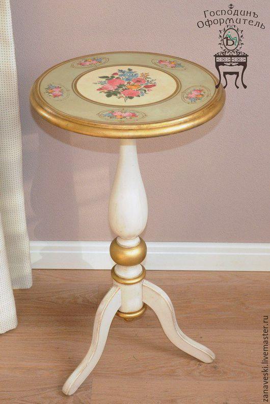 """Мебель ручной работы. Ярмарка Мастеров - ручная работа. Купить Чайный столик """"Воспоминание о лете"""". Handmade. Оливковый, цветы, гостиная"""