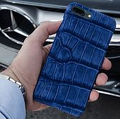 Сумки и аксессуары handmade. Livemaster - original item Case for IPhone 7/8 crocodile leather blue (nubuck). Handmade.