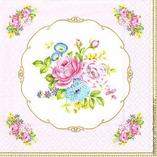 Декупаж и роспись ручной работы. Ярмарка Мастеров - ручная работа. Купить Винтажный букет на розовом (PINK) 33х33 салфетка для декупажа. Handmade.