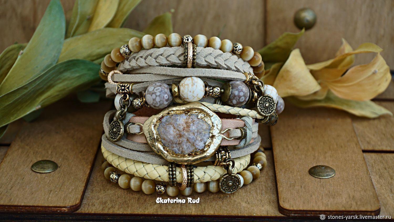 BOHO-chic bracelet with quartz ' Golden beige', Bead bracelet, Moscow,  Фото №1