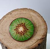 handmade. Livemaster - original item Brooch Gold kiwi. Wooden brooch handmade.. Handmade.
