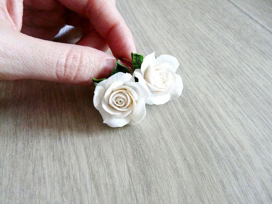 """Серьги ручной работы. Ярмарка Мастеров - ручная работа. Купить Серьги """"Белые розы"""". Handmade. Розы, серьги с цветочками"""
