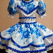 Работы для детей, ручной работы. Ярмарка Мастеров - ручная работа платье Гжель 02. Handmade.