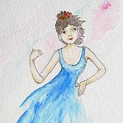 Картины и панно handmade. Livemaster - original item Dancing Girl and Guitar Watercolor 10х15. Handmade.