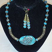 """handmade. Livemaster - original item Necklace and earrings with chrysocolla - """"Born of Water."""". Handmade."""