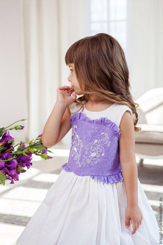 Одежда для девочек, ручной работы. Ярмарка Мастеров - ручная работа. Купить Очарование сирени. Нярядное пышное платье с ручной вышивкой для девочк. Handmade.