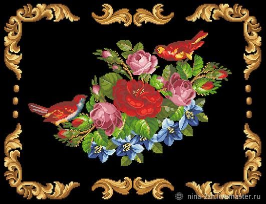 The scheme for embroidery: Composition with red birds, Patterns for embroidery, Penza,  Фото №1