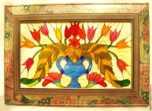 "Flower Painting handmade. Livemaster - handmade. Buy Painting ""Tulips""..Painting, gift for any occasion, interior, stained glass"