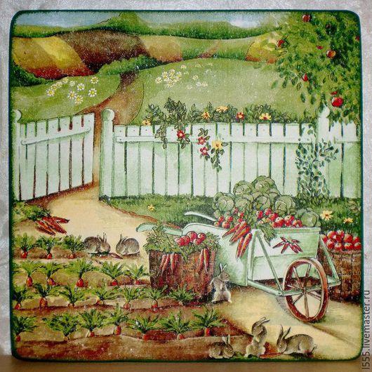 """Кухня ручной работы. Ярмарка Мастеров - ручная работа. Купить Разделочная доска панно """"Урожай у зайцев"""". Handmade. Разноцветный"""