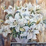 Картины и панно handmade. Livemaster - original item Painting watercolor Lily. White lilies. Painting with flowers.. Handmade.