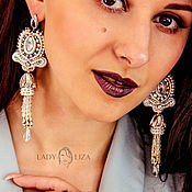 Украшения handmade. Livemaster - original item Soutache Valentine earrings. Long earrings. Wedding jewelry. Handmade.