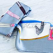 "Аксессуары handmade. Livemaster - original item Серый  шейный платок из атласа с расцветкой Hermes ""Гольф"". Handmade."