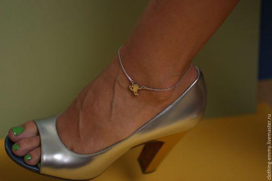 Браслеты ручной работы. Ярмарка Мастеров - ручная работа. Купить Браслетик на ногу Обезьянка. Handmade. Серебряный, браслет, на ногу