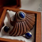 Украшения handmade. Livemaster - original item Set Ring earrings with lapis lazuli Lotus. Handmade.