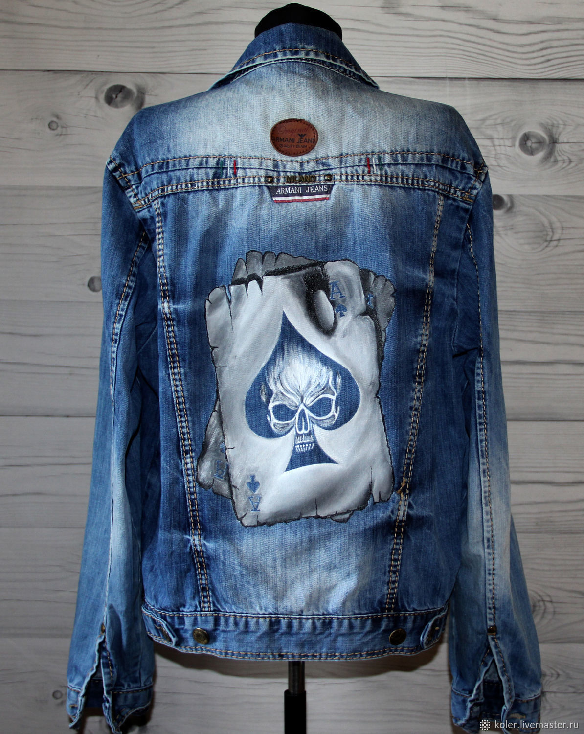 Denim jacket denim jacket with card and skull pattern hand painted, Mens outerwear, St. Petersburg,  Фото №1
