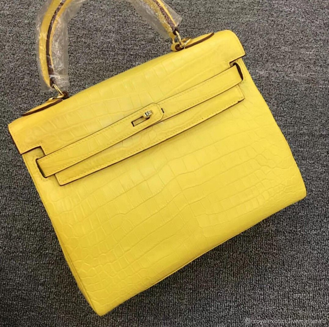 Women's handbag made of crocodile skin, in yellow, Classic Bag, Tosno,  Фото №1