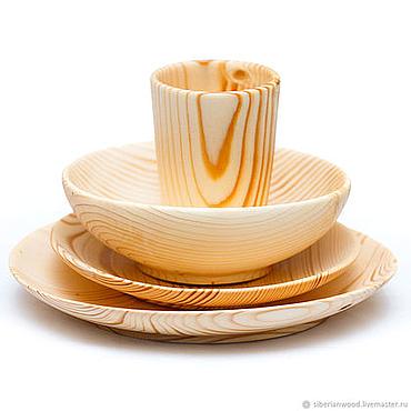 Посуда ручной работы. Ярмарка Мастеров - ручная работа Деревянный Обеденный Сервиз (3 тарелки + стакан) Сибирская Пихта #TN35. Handmade.