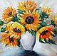 Картины цветов ручной работы. Ярмарка Мастеров - ручная работа. Купить Подсолнухи в вазе. Handmade. Подсолнухи, цветы в вазе, oil