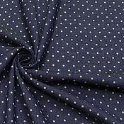 Ткани ручной работы. Ярмарка Мастеров - ручная работа ткань джинс плательный горох  т.синий. Handmade.