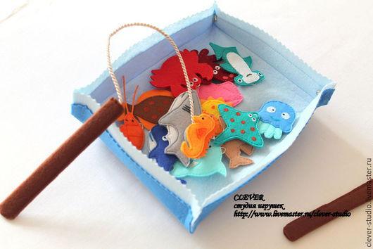 """Развивающие игрушки ручной работы. Ярмарка Мастеров - ручная работа. Купить Игра """"Рыбалка"""". Handmade. Голубой, рыба, подарок ребенку"""