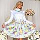 Платья ручной работы. Ярмарка Мастеров - ручная работа. Купить Платье ФФ-01-А-Белое с цветной юбкой. Handmade.