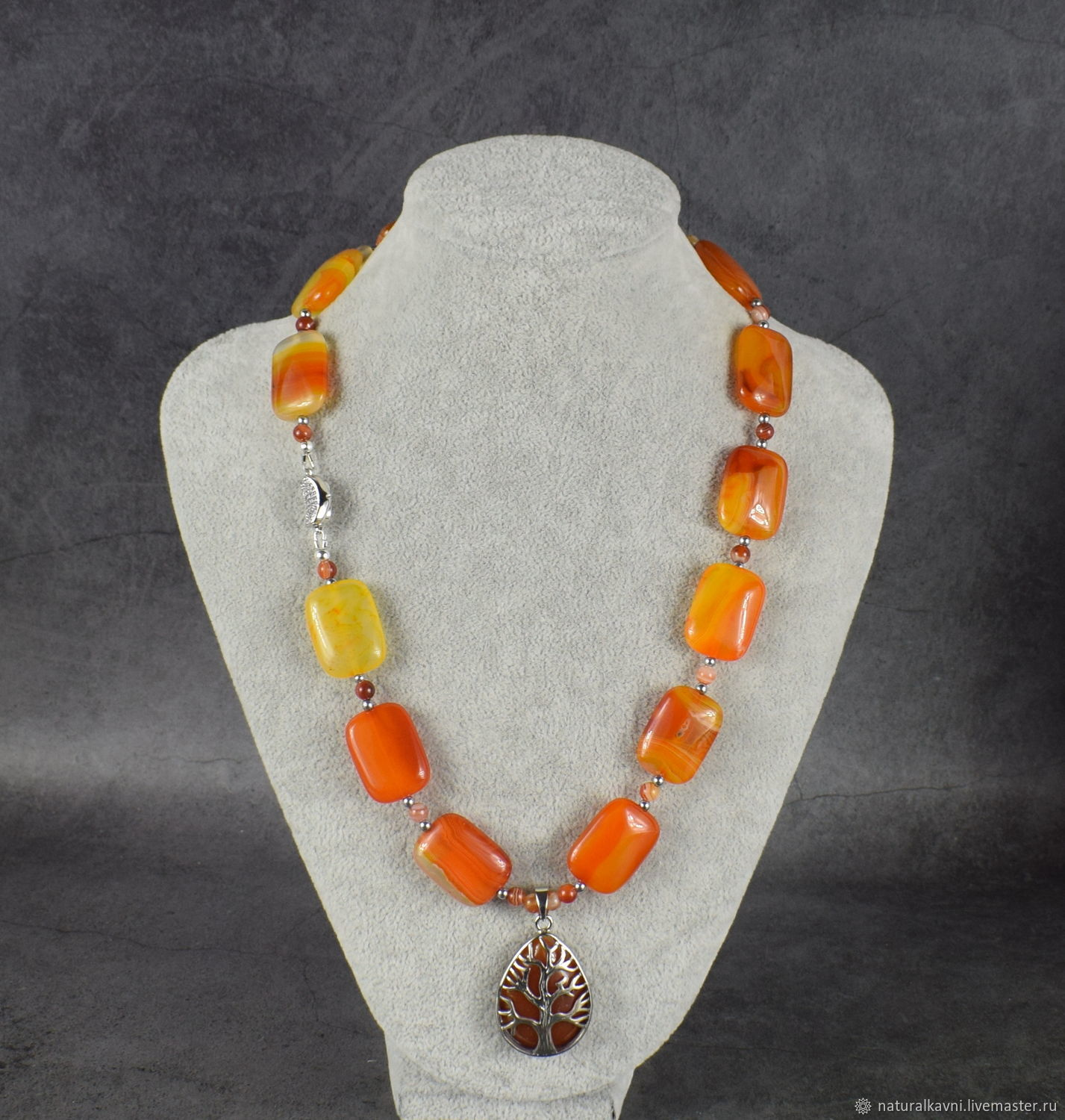 Sautoir with pendant natural agate. The author's work, Necklace, Moscow,  Фото №1