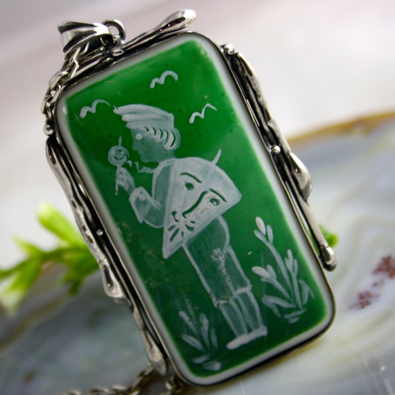 Pendant 'Boy with a kite' - hand painted, silver 925, Pendants, Prague,  Фото №1