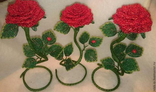 Цветы ручной работы. Ярмарка Мастеров - ручная работа. Купить Роза из бисера. Handmade. Розовый, роза