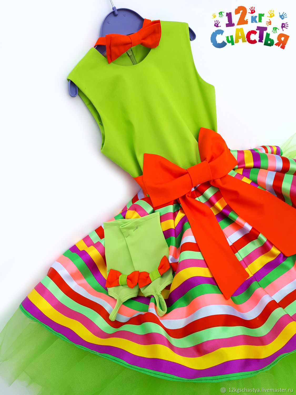 """Платье для девочки """"Стиляги"""" салатовое с полоской"""