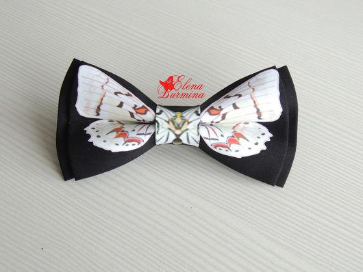 Галстуки, бабочки ручной работы. Ярмарка Мастеров - ручная работа. Купить Бабочка галстук с белой бабочкой, хлопок. Handmade.