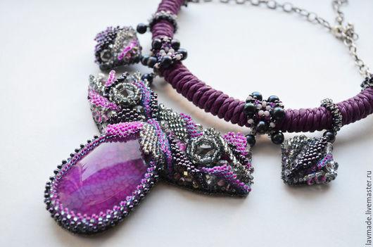"""Колье, бусы ручной работы. Ярмарка Мастеров - ручная работа. Купить Колье """"Дейция"""". Handmade. Фиолетовый, вышитое колье, кристаллы"""