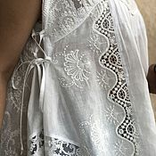 Одежда handmade. Livemaster - original item Boho tunic cotton embroidery and lace outside tenderness(milk). Handmade.